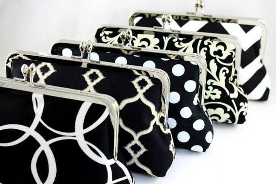 Black Bridesmaid Clutches in Various Patterns / Personalized Gift for your Bridal Party / Wedding Clutches - Set of 7