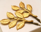 Leaf Hair Pins, Brass Leaf Hair Pins, Floral Hair Pins, Country Wedding, Brides hair accessories, Wedding Jewelry - Brass Leaf Hair Pins - merryalchemybridal