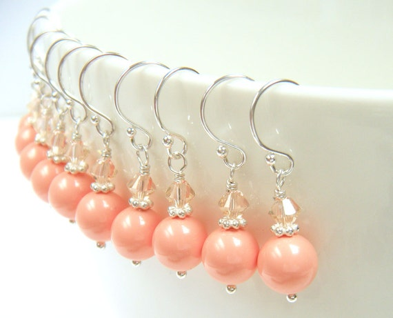 """Set of Five (5) Coral Bridesmaid Earrings, Coral Pearl Earrings, Bridesmaids Gifts, Bridal Party Gifts - """"Present Moment Coral"""""""