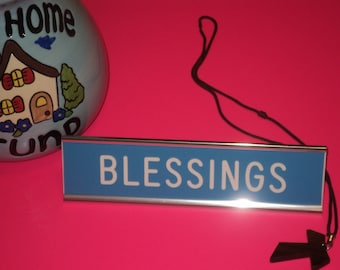 """2"""" x 8"""" blue engraved sign with white letters and silver anodized desk holder - BLESSINGS"""