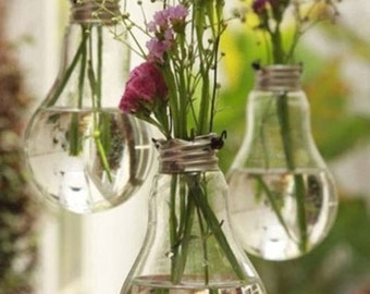 Set of 3 Vintage Vases from Recycled Light Bulb
