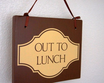 Out to Lunch / Out on Delivery Double Sided Hanging business sign with ribbon