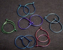 Colorful Niobium Hoop Earrings - Light weight, hypo-allergenic, perfect for sports or daily wear