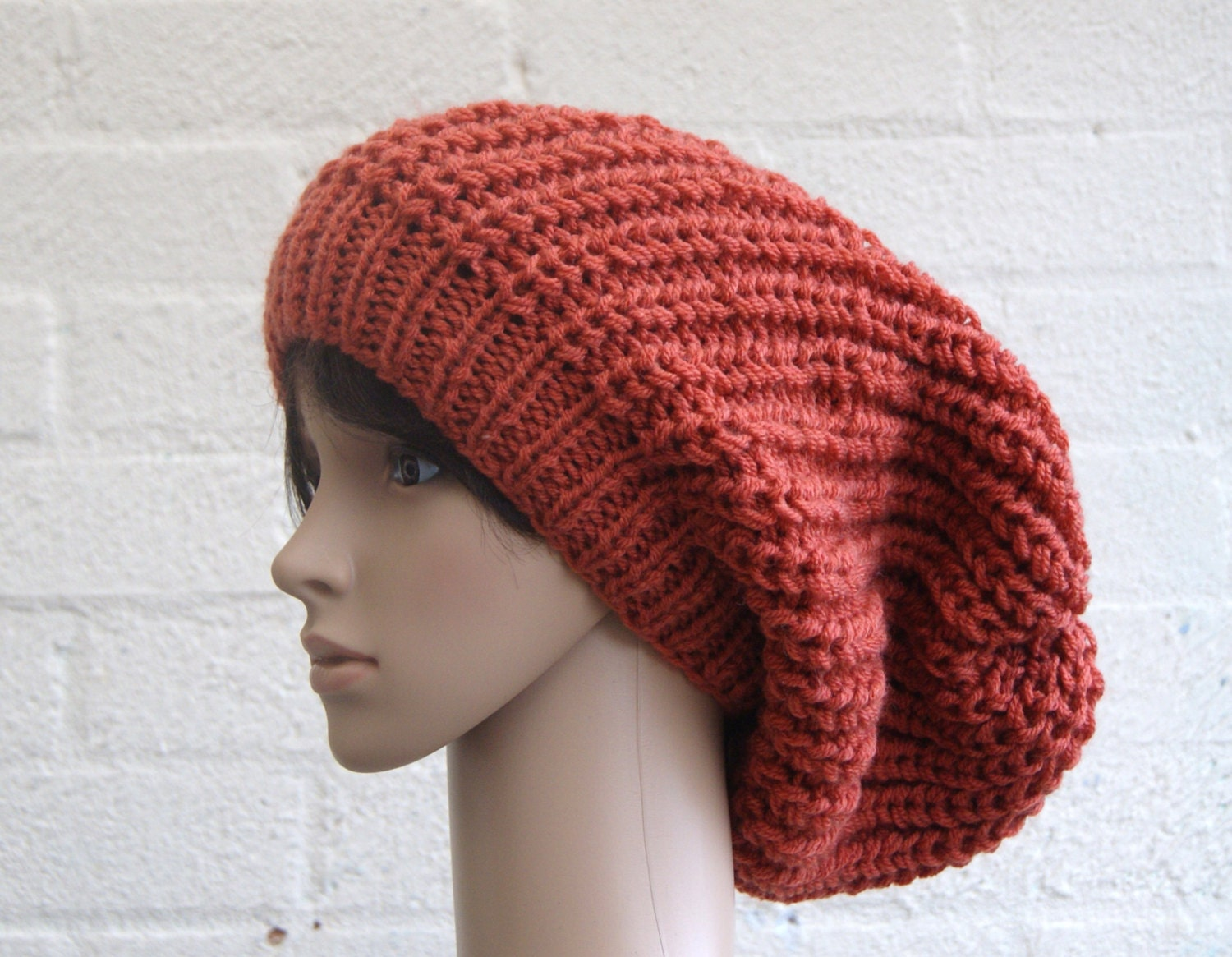 Extra large Knitted Slouchy Rusty Beanie hat by StripesnCables