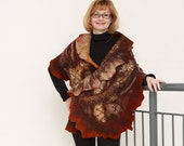 Reserved. Nunofelted Stole Double-sided Leopard Autumn colors