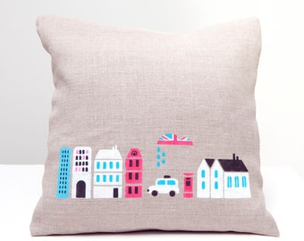 Pillow. London city. Hand Printed  pillow on natural grey linen fabric for children's room - handmade pillow cushion cover, home decor