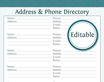 Phone directory etsy for Church phone directory template