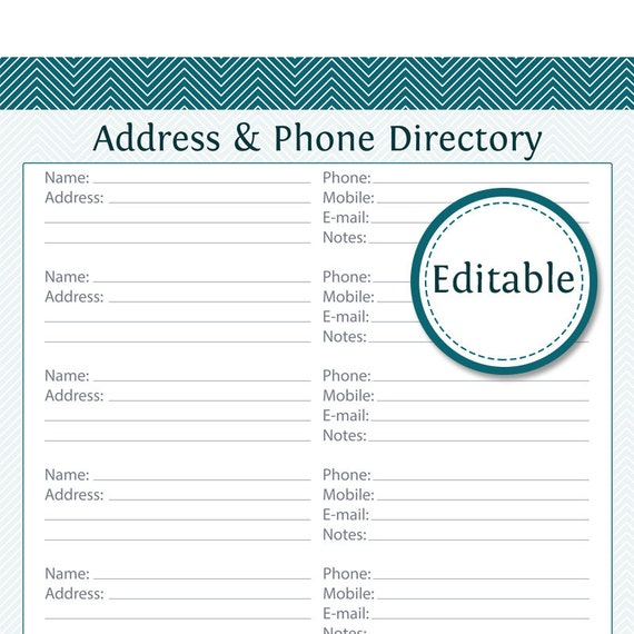 Address U0026 Phone Directory   Fillable   Printable PDF   Instant Download  Name Address And Phone Number Template