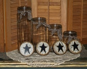 Handpainted Primitive Star Kitchen Jar Canisters.... Spaggetti noodles and more