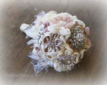 R1950 - Heirloom jewelled wedding bouquet - Handmade fabric flowers, Crystal, Diamante & Pearl