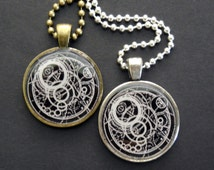 Dr Who Gallifreyan Symbol Tibetan Silver or Brass Round Pendant Necklace