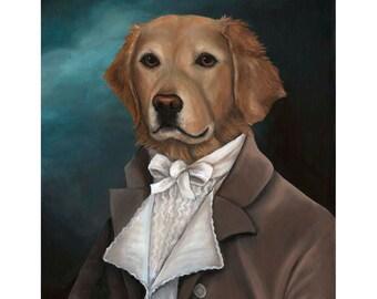 Golden Retriever, Prints, Anthropomorphic, Dog Mom Gift, Golden Retriever Art, Gift for Dog Mom