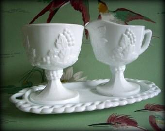 Vintage Milk Glass Sugar and Creamer Set Indiana Glass Harvest Grape Pedestal Sugar and Creamer with Tray Wedding White Sugar Creamer