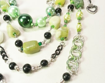 Necklace Gift Jade Black Green Glass Pearls Black Chain