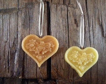 Beeswax Heart Ornament, Plain or Cinnamon, All Natural