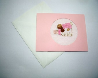 New Baby Girl Card. Cross Stitch Card.  CLEARANCE SALE