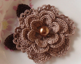 Crochet Flower With Leaves In 3-1/4inches YH-099-015