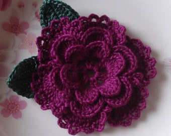 Crochet Flower With Leaves In 3-1/4inches YH-099-167