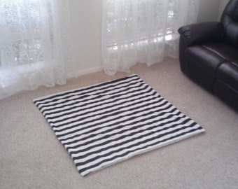 Square Play Mat , tummy time mat , in Stripe , Chevron , Gotcha  , or to Match your tent Pictured as black and white stripe