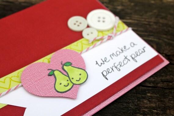 Handmade valentine cute valentines card perfect pair for Cute valentines day cards homemade