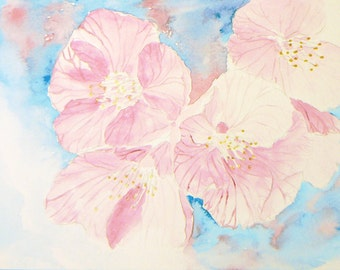 Cherry Blossom 6 x9 Original Watercolor Painting