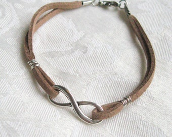 Infinity Charm Leather strap bracelet - multi color leather with silver plated infinity charm