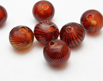 Glass Beads, Hollow, Red, 13mm  - 6 pieces