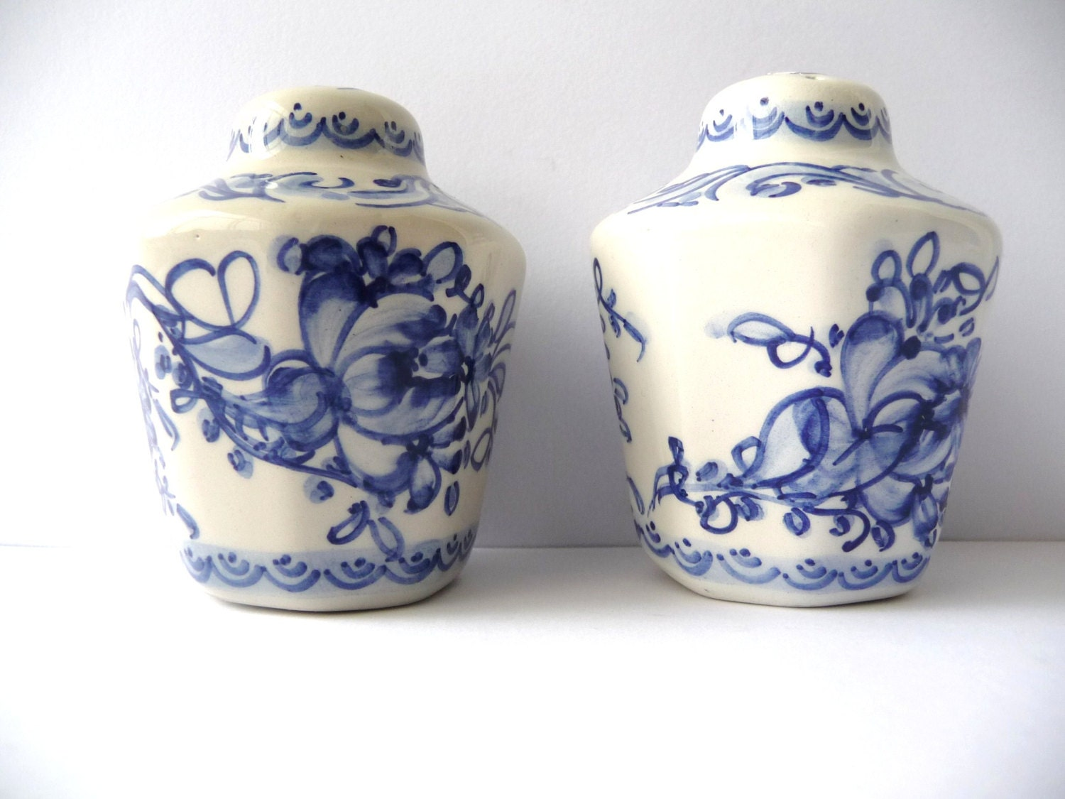 Vintage Salt And Pepper Shakers Hand Painted Porcelain