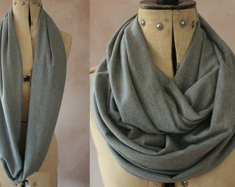 Infinity scarf - Circle scarf, Eternity scarf, Jersey scarf, Loop scarf, Snood, T-Shirt scarf - Grey