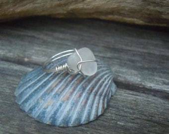 Handmade Wire Wrapped Genuine Clear Beach Glass Ring Sz 7