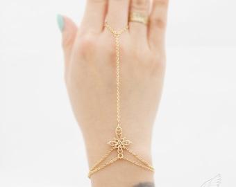 Gothic Cross, Double Wrap Braclet, Gladiators Bracelet Hand Bracelet Finger Bracelet Slave Bracelet