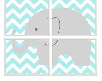 Elephant Nursery Art Print    - Chevron Aqua Gray Decor - Children Kid Baby Boy Room - Wall Art Home Decor