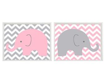 Nursery Art Elephant - Light Pink Gray Chveron Decor  - Children Kid Baby Girl Room - Safari Zoo Set   Print