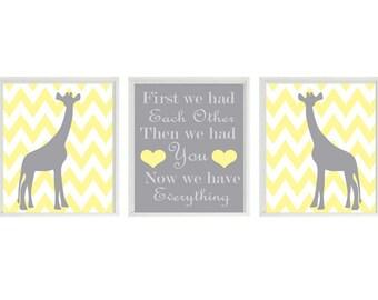Giraffe Nursery Art Print Set  - Chevron Yellow Gray Decor - First We Had Each Other Quote - Modern Baby Room - Wall Art Home Decor