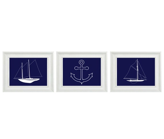 Nautical Sailboat Anchor Wall Art Print  - Navy Blue White - Nursery Children Room Home Decor