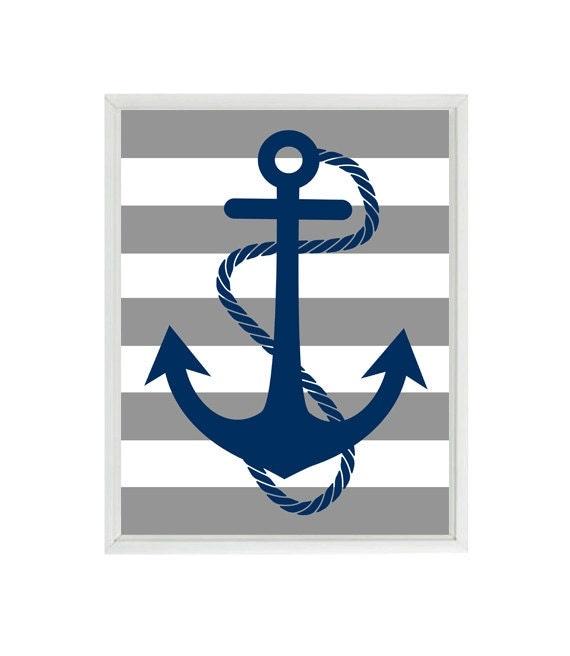 Blue Anchor Wall Decor : Anchor art print navy blue gray stripes nautical nursery