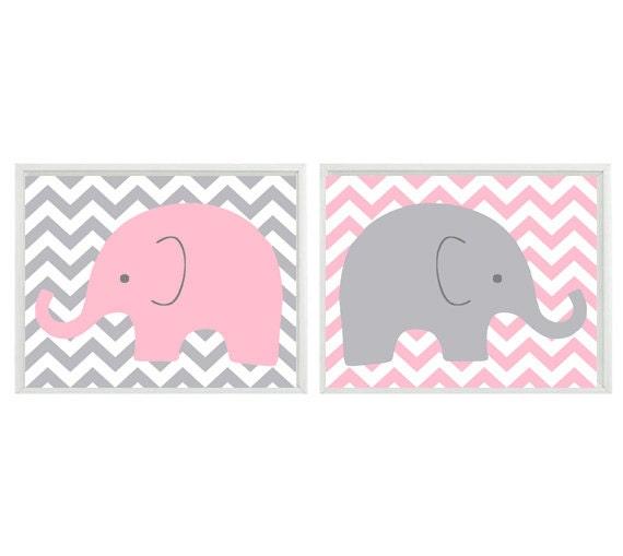 nursery art elephant light pink gray chveron decor. Black Bedroom Furniture Sets. Home Design Ideas