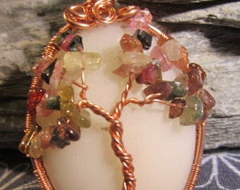 Mixed gemstone chip tree of life cabochon pendant in copper