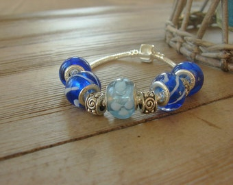 European Style Charm Bracelet 925 / Stopper Bead / Brilliant Blue and Silver