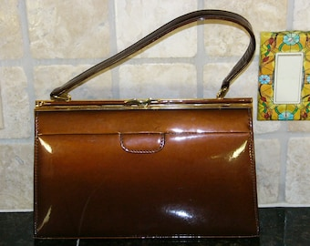 Patent leather handbag or purse, vintage bronze