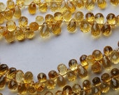 8 Inch Strand, AAA Quality Citrine Faceted Drops Shape Briolettes, 6-6.5mm Long,Great Quality