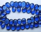 2 Match Pair,Superb-Finest Quality,KYANITE BLUE Quartz Faceted Pear Shape Briolettes, 7x10mm size,