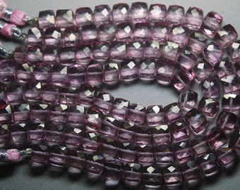 8 Inches Strand,Finest Quality, AAA Pink Mystic Quartz Faceted 3D Box Shaped Briolettes,6-8mm Large
