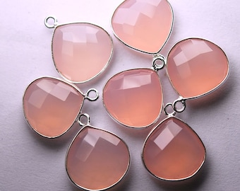 925 Sterling  Silver, Rose Chalcedony Faceted Heart Shape Pendant,5 Piece of 18mm
