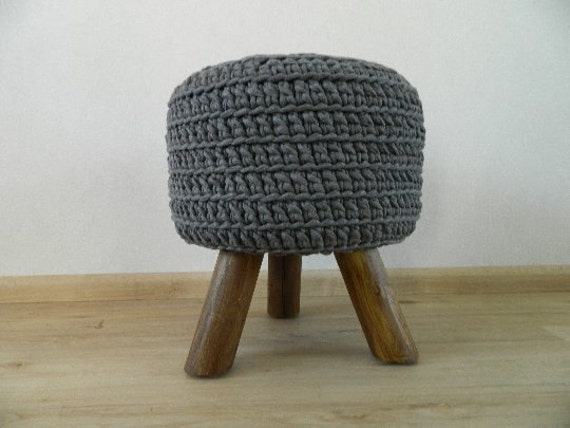 Pouf grey or light grey, round side table, footstool, hocker Ottoman NEW