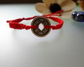 Red Feng Shui coin macrame bracelet. Fengshui Friendship Bracelet. Red waxed cord and Lucky Coin Bracelet