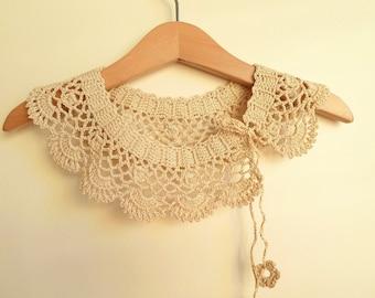 Crochet collar Necklace, Handmade crochet Peter Pan Collar Necklace, beige cotton collar,  ready to shipping, for her.