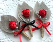 RED and BLACK Burlap Groom's Boutonniere for Wedding Rustic Bout with  Flower