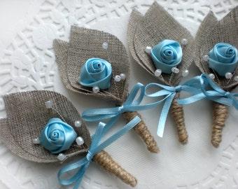Set of 18- Blue Flower burlap Boutonniere (buttonhole)