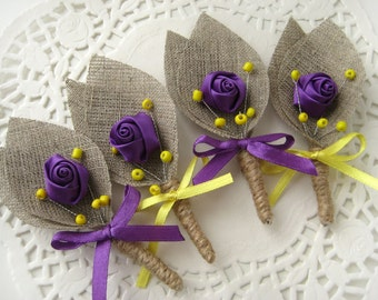 Set of 4- Purple Flower burlap Boutonniere (buttonhole)-Yellow & Purple
